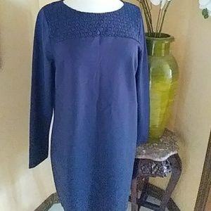 Boden navy ponte knit shift dress sz 12R